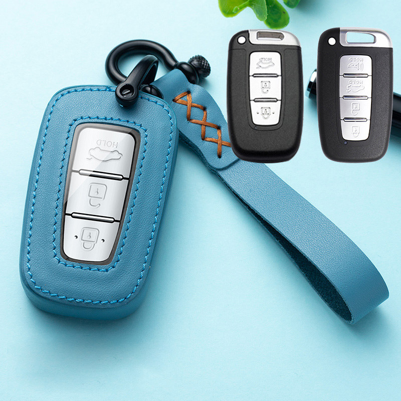 Leather Car Key Cover Case Smart Key Case Holder For Hyundai Equus Genesis Veloster for KIA Sportage Forte Optima Soul Azera