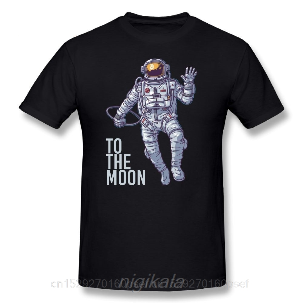 Bitcoin Astronaut to the Moon Cryptocurrency T-Shirt Funny Short Sleeve 100% Cotton T Shirt O Neck Design Adult  Tees 1