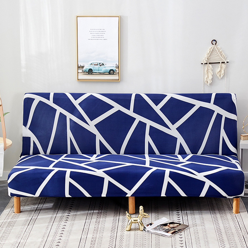 Armless Sofa Bed Cover Polyester Without Armrest Printed Covers Stretch Slipcover Folding Furniture Decoration Bench Covers