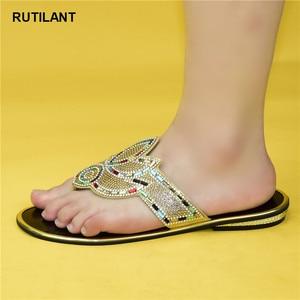 Image 1 - Zapatos elegantes de boda con diamantes de imitación a la moda para mujer, zapatos para fiesta de 2020, recién llegados especiales, zapatos nigerianos de Color dorado para boda