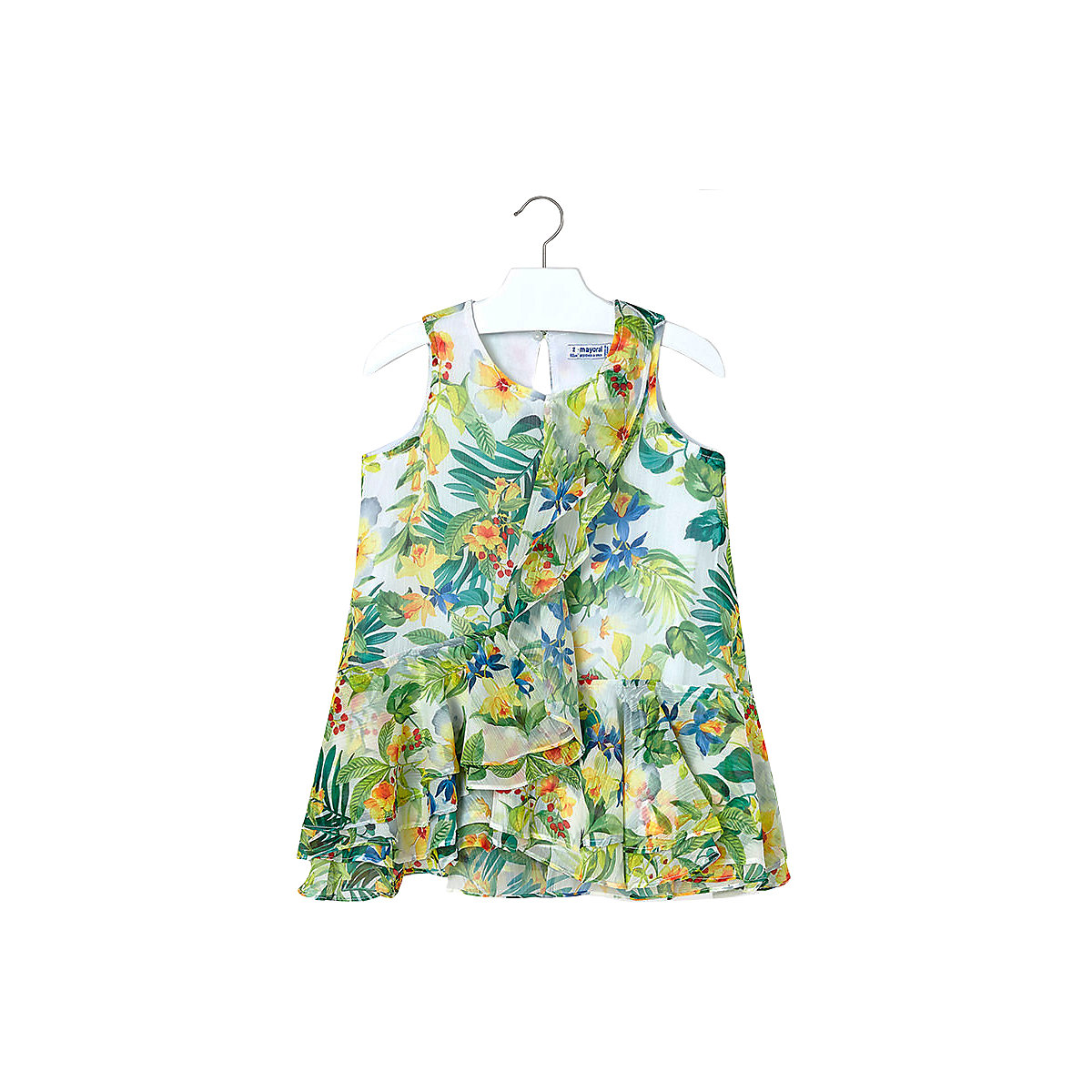 MAYORAL Dresses 10686762 Girl Children fitted pleated skirt Yellow Polyester Casual Floral Knee-Length Sleeveless Sleeve white tube top and floral print pleated hem skirt co ord