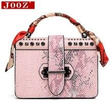 JOOZ new Women-hand bag Luxury Snake pattern elegant Ladies Shoulder Bag with Scarf PU Leather square Chain Crossbody bag jooz brand women 100