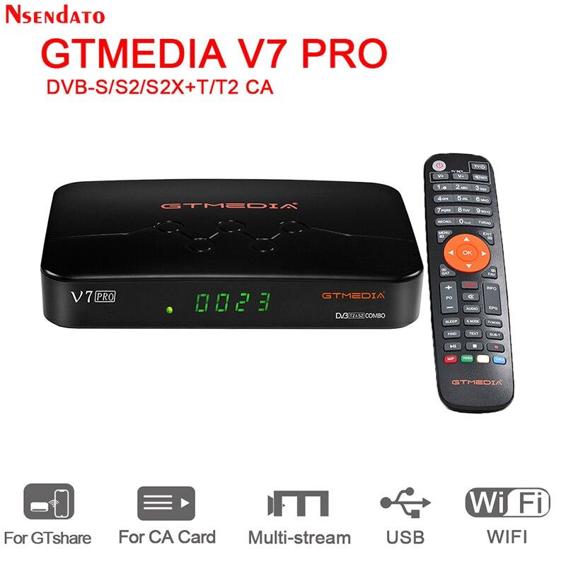 Новинка 2020, декодер GTMEDIA V7 pro DVB-S/S2/S2X + T/T2, карта CA, спутниковый ТВ-приемник, встроенный Wi-Fi ТВ-приставка для H.265 Biss Key Youtube