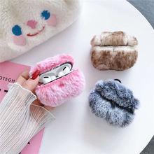 Милый зимний плюшевый чехол для apple airpods 1 2 pro bluetooth