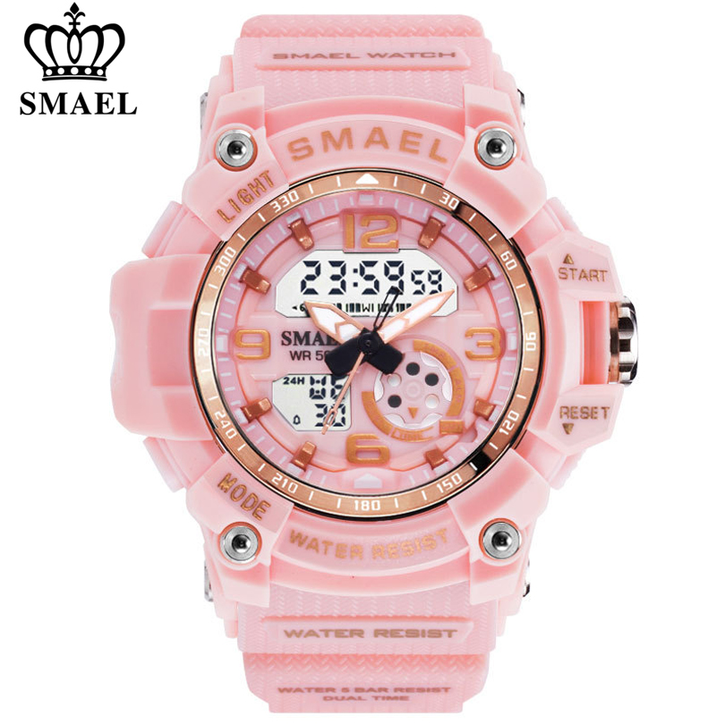 SMAEL Women Sport Digital Watch Electronic Quartz Dual Core Display LED Waterproof Watches Casual Student WristWatch Girl Clock