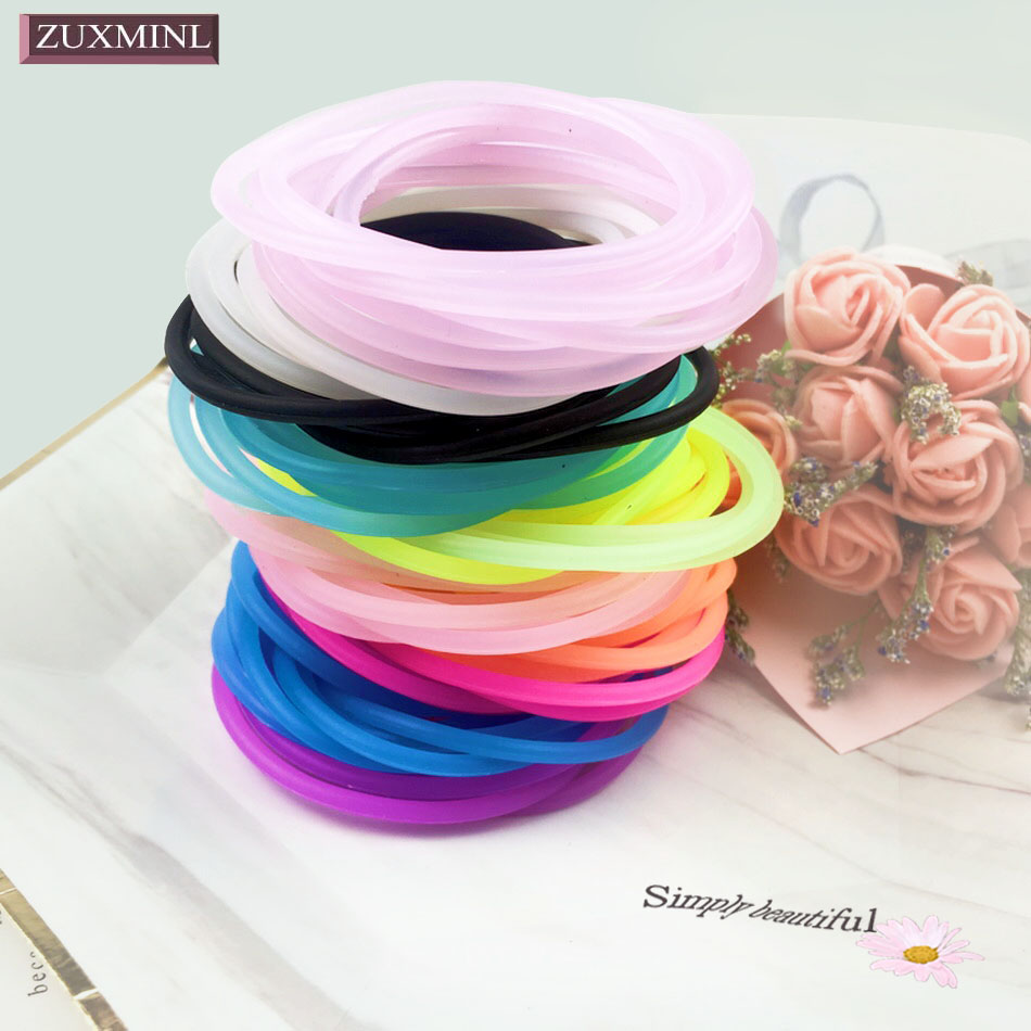 <font><b>100</b></font> pcs Women Colorful <font><b>Hair</b></font> <font><b>Ties</b></font> Silicone Elastic <font><b>Hair</b></font> Rubber Bands For Ponytail Holder Girls Hairbands Gum Children Accessories image