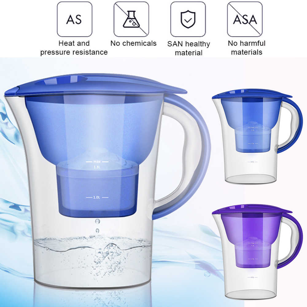 2.5L Brita Filter Air Karbon aktif Bersih Ketel Air Filter Purifier Kendi Air Lonizer Alkaline Disaring Pot Dapur