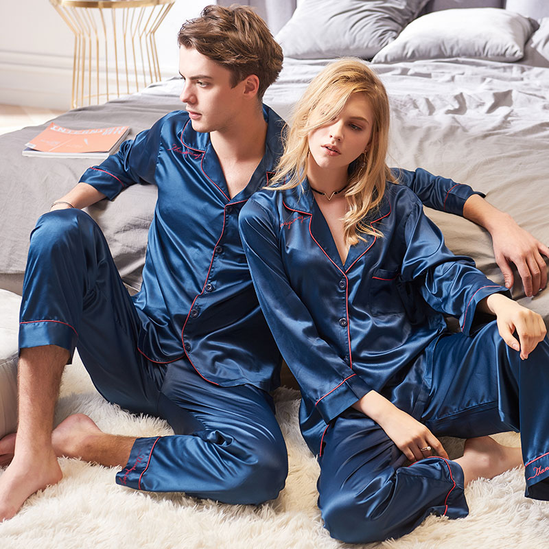 2 Piece Spring Autumn Couple Silk Satin Pajamas Pyjamas Set Men Women Faux Silk Long Sleeve Sleepwear Pijama Mujer Suit