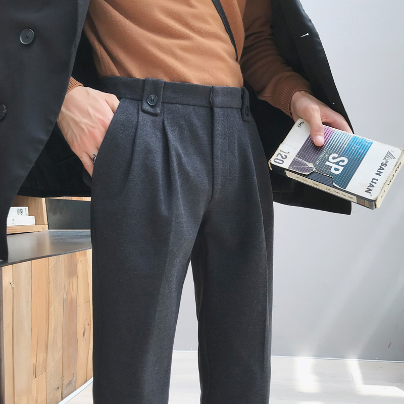 Autumn Winter Men Vintage Business Casual Black Gray Suit Pant Male Streetwear Fashion Thick Harem Trouser