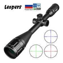 Mira telescópica de rifle óptico, leapers 6 24x50, mira vermelho, verde, azul, para caça ak 47