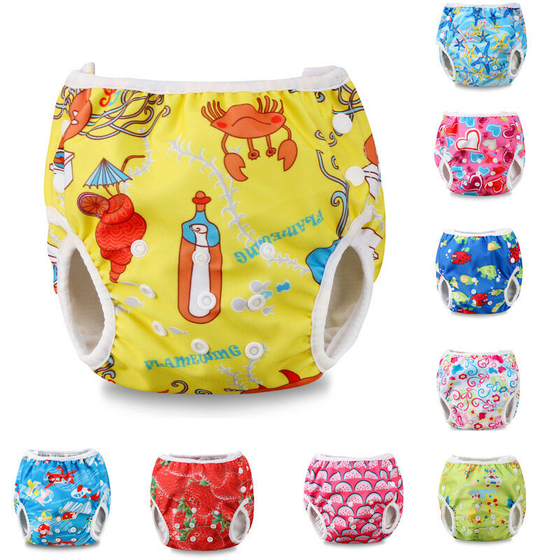 Cartoon Baby Swim Nappy Diaper Leakproof Reusable Adjustable Diapers For Baby Infant Boy Girl