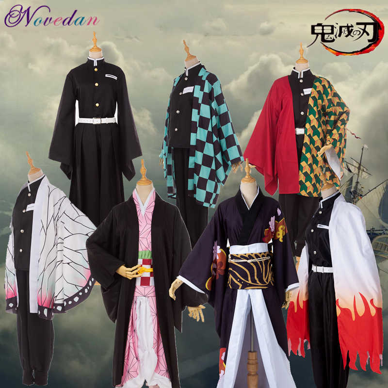 Anime Kostuum Demon Slayer Cosplay Tanjirou Kamado Nezuko Cosplay Kostuum Kimetsu Geen Yaiba Mannen Vrouwen Kimono Kostuum Halloween