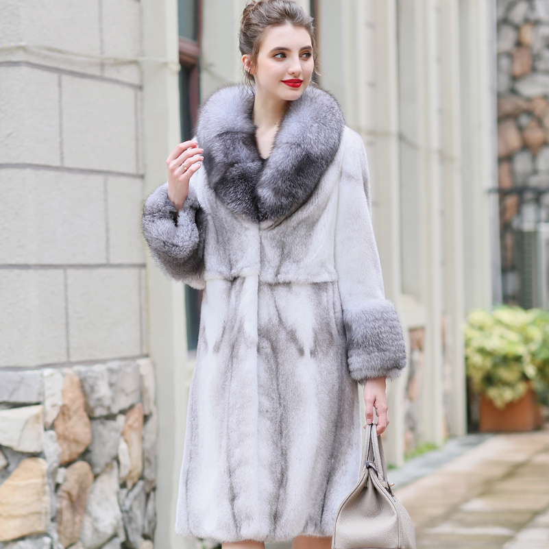 Mink Real Natural Coat Female Fox Fur Collar Luxury Fur Coat Winter Jacket Women Warm Long Jackets Manteau Femme MY4170 S