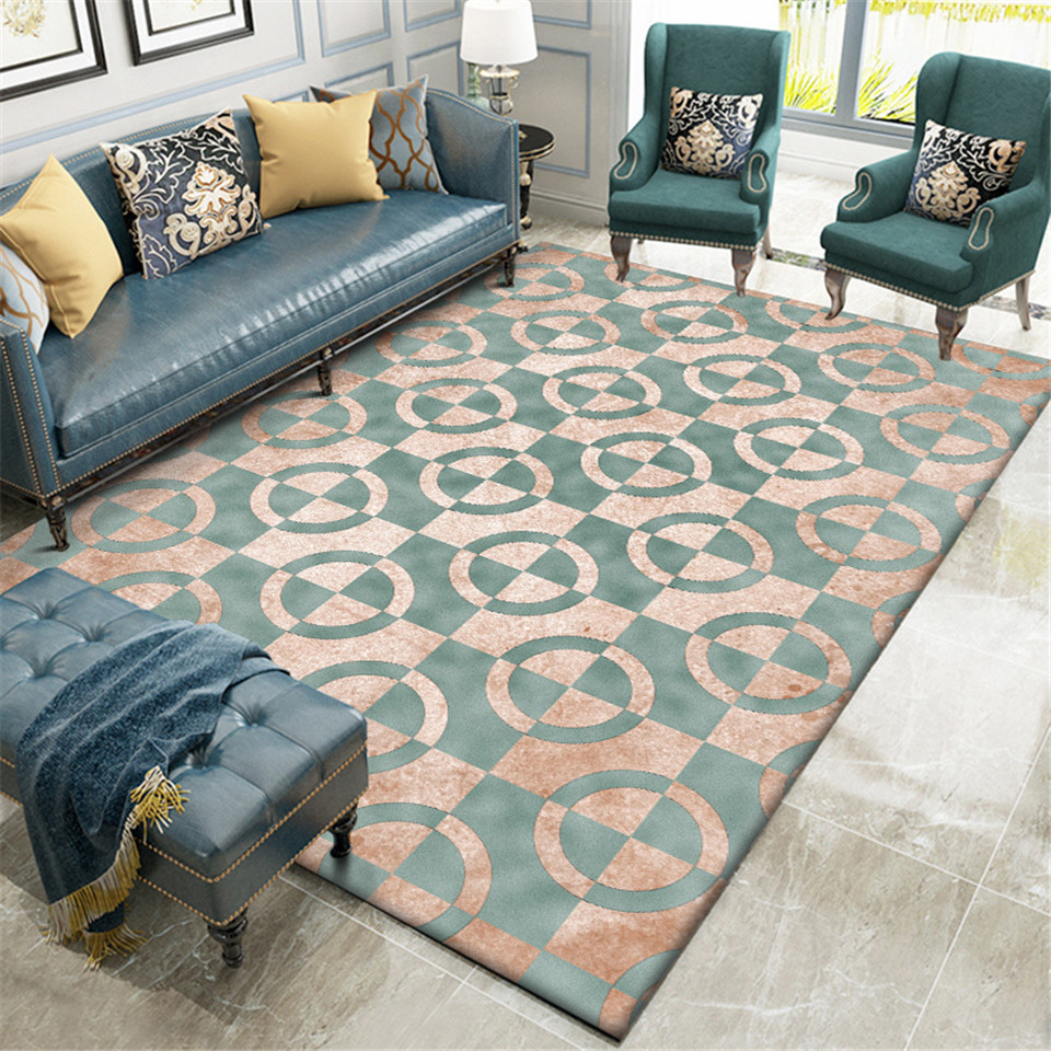 Luxury Green Carpet Geometric Gold Print Carpet For Living Room Bedroom Besides Rugs Home Decor Nordic Hallway Carpet Mat