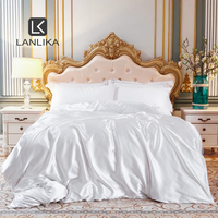 Parkshin Noble Luxury 100% Silk Beauty White Bedding Set Healthy Skin Duvet Cover Euro Bedspread Bed Linen Set Home Textile