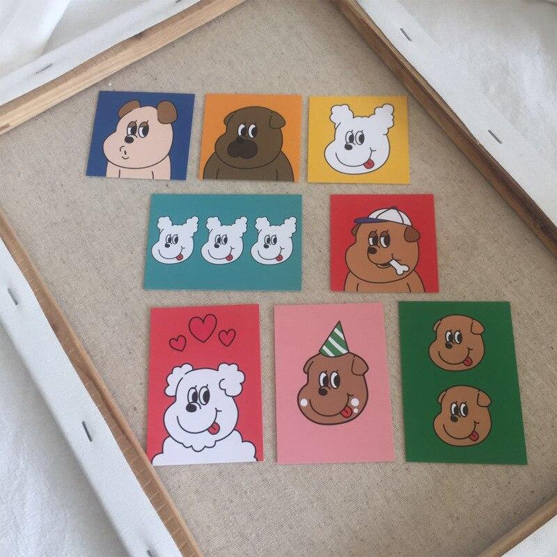 Купить с кэшбэком SIXONE 8 Sets Lovely Dog Creative Decorative Cards Mobile Shell Card Wall Decoration Shooting Props Decorative Painting Suit