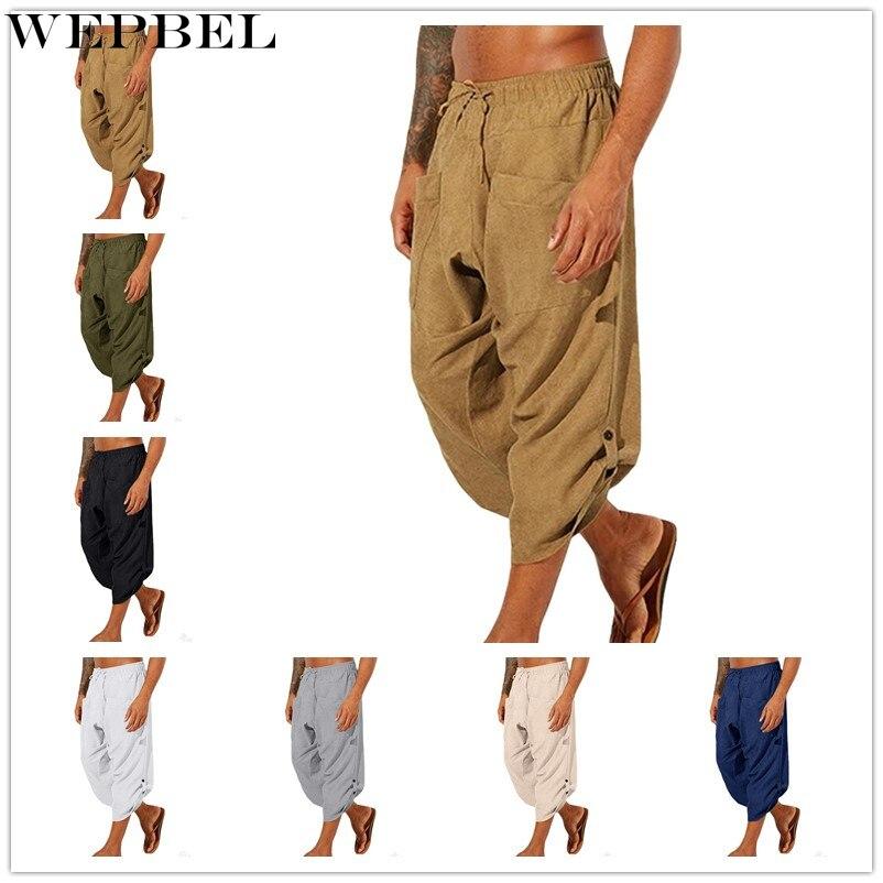 WEPBEL Mens Pants Vintage Ethnic Style Calf-Length Loose Drawstring Casual Harem Pants
