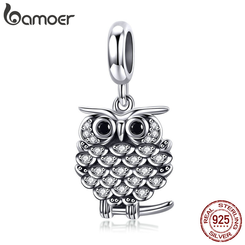 BAMOER Authentic 925 Sterling Silver Crystal Owl Lovely Animal Shape Beads Charm Fit Bracelet & Bangles Jewelry Making SCC949