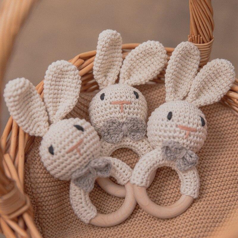 1Pc Baby Beißring Häkeln Kaninchen Rassel Holz Spielzeug BPA FREI Holz Nagetier Rassel Baby Mobile Gym Neugeborenen Kinderwagen Pädagogisches spielzeug