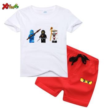 цена на Boys Girls T-shirts Set 2020 Kids Ninjagos T Shirts Cotton Top Tees Short Sleeves Girl T-Shirts + Pants  Summer Kids T shirt Set