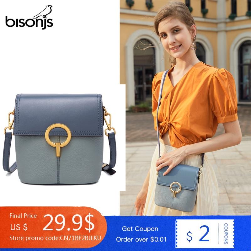 BISONJS Women Leather Luxury Handbags Small Women Bags 2020 New Designer Shoulder Bag High Quality Crossbody Bag For Women B1669