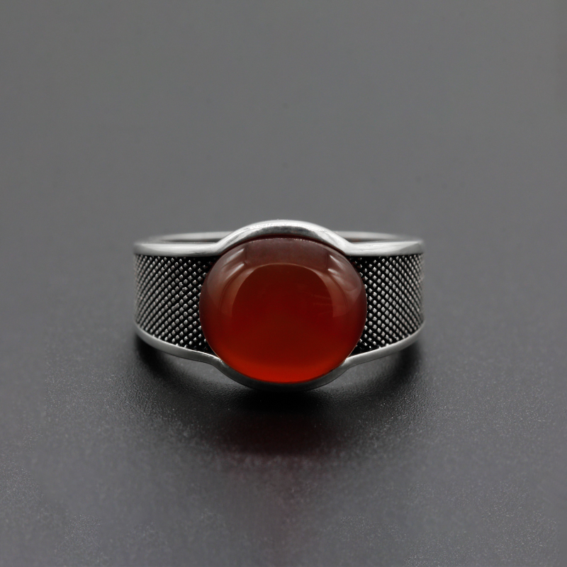 Image 3 - New Natural Onyx Stone Ring For Men Solid 925 Sterling Silver  Thai Silver Red Semi precious Stone Men Ring Turkish JewelryRings   -