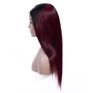 Image 5 - Sweetie 13X4 Ren Mặt Trước Con Người Tóc Giả Brasil Thẳng Ren Mặt Trước Tóc Giả 1B/99J/30 Remy tóc Ombre Tóc Giả Cho Nữ Màu Đen