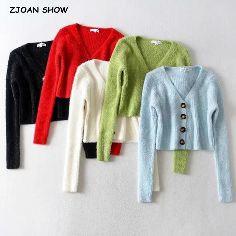 5 Color 2019 Autumn Sexy Single Breasted Button Cardigan Shaggy Sweater Woman Retro V-neck Long Sleeve Jumper Kleding Jerseis