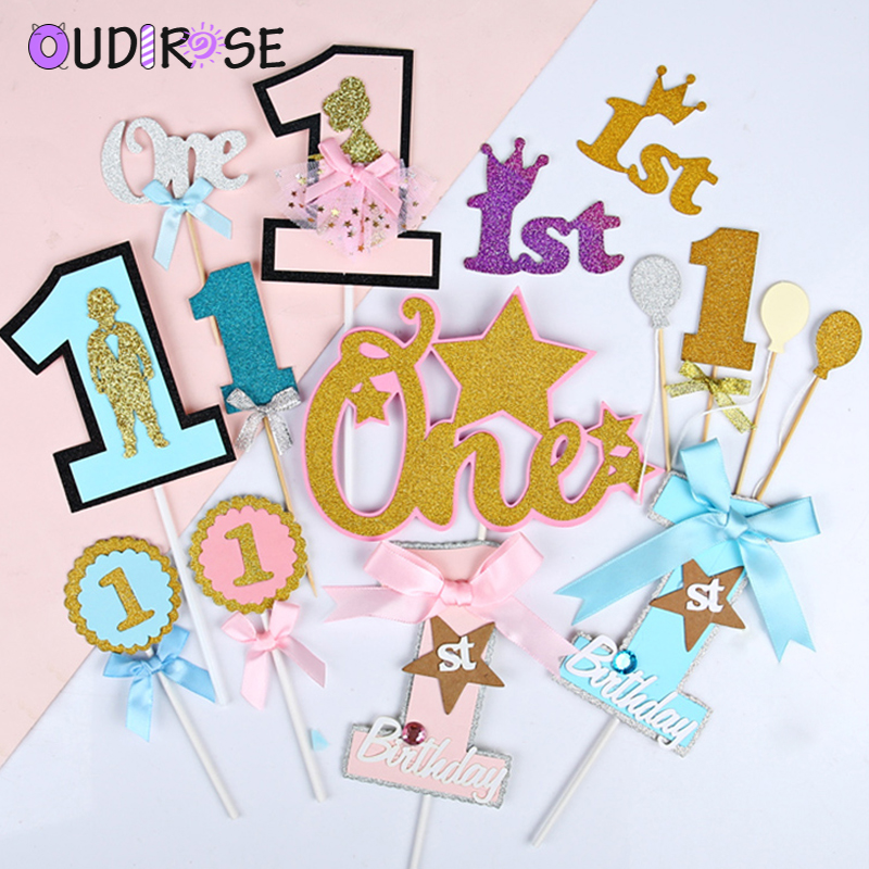 Boys Girls 1st Birthday Cake Toppers Letter Crown Paper Cake Decoration Baby Shower Birthday Party Dessert Table Supplies Cake Decorating Supplies Aliexpress