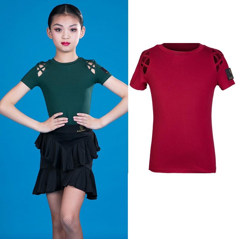New Latin Dance Tops Girls 2019 Latin Dress Dance Tops Black/Green/Red Latin Ptactice Wear Modern Dance ChaCha Latin Tops BL2444