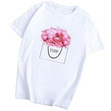 Camiseta Casual divertida de algodón con diseño de flores y Perfume para Mujer