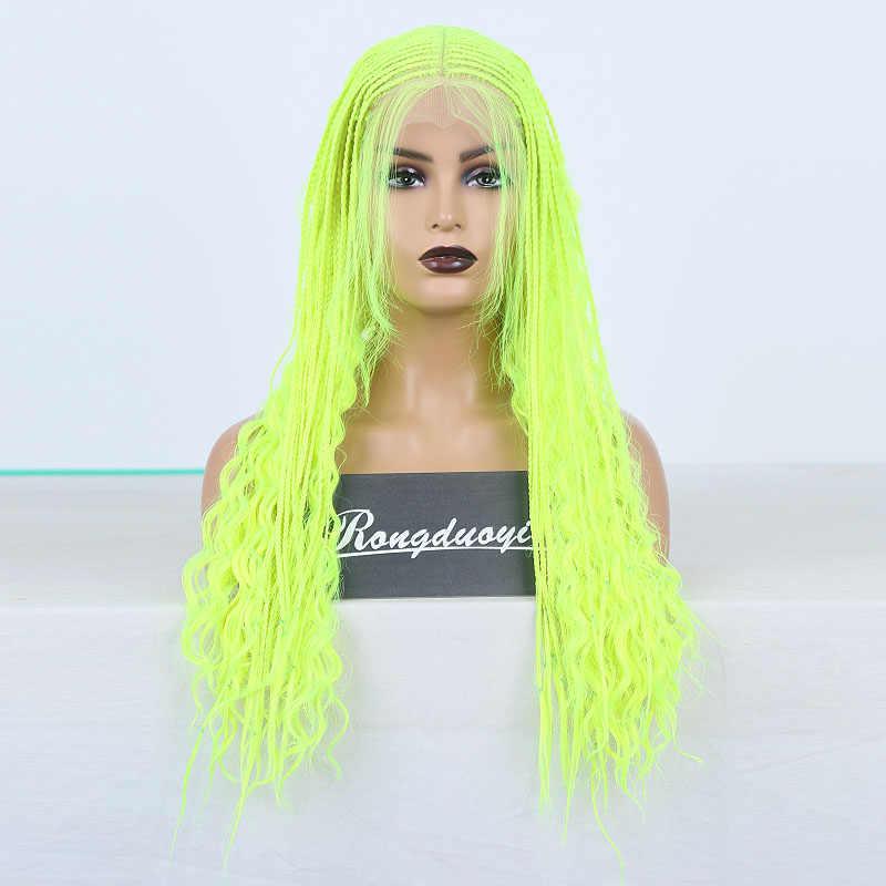 Rongduoyi preto de alta temperatura 500 peça peruca cosplay perucas sintéticas do laço frontal para as mulheres micro 2x torção trançado rendas tranças peruca