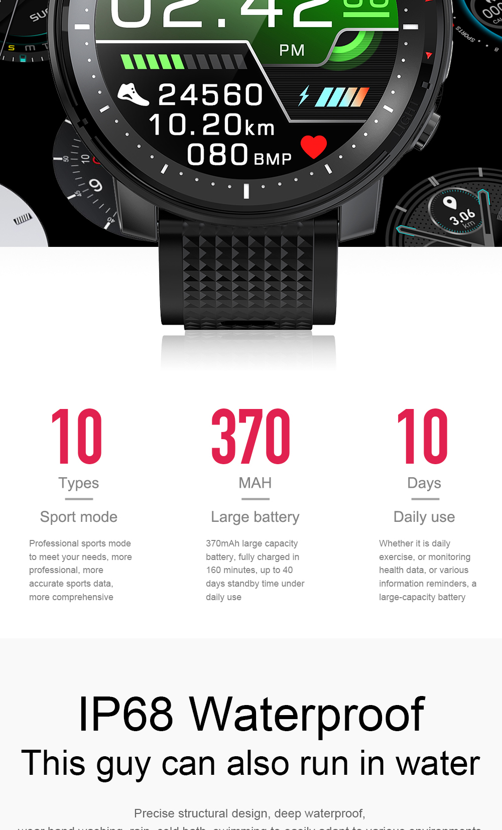 2021 Full touch Smart Watch Men Sports Clock IP68 Waterproof Heart Rate Monitor Smartwatch for IOS Android phone