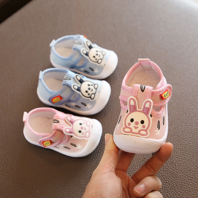 2020 Baby Boy Casual Shoes Blue Pink Cute Rabbit Pattern Newborn Infant Baby Girl Shoes Toddler Moccasins Squeaky Shoes D02082