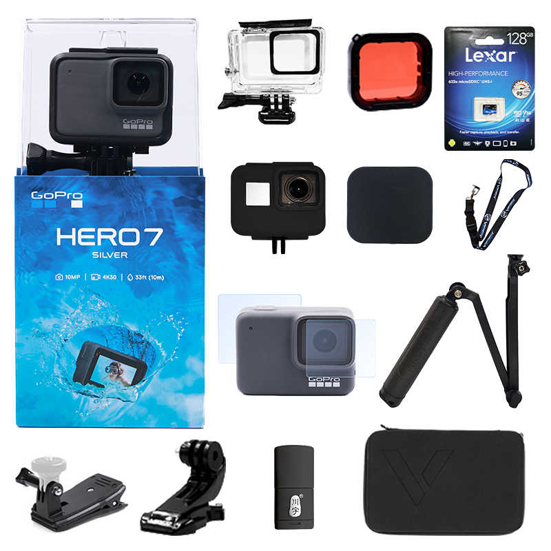 Original GoPro HERO 7 plata impermeable CÁMARA DE ACCIÓN Digital pantalla táctil 4K HD Video 10MP fotos Go Pro Hero7 deportes Cámara