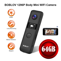 BOBLOV Mini Camera WIFI Motion Detect 64G HD 1296P Professional BodyCam Micro Magnet Camcorder Loop Recording DVR Cam