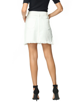 Straight Denim Jeans Above Knee Mini Empire Lace-up Pockets White Solid Street Casual Skirt 4