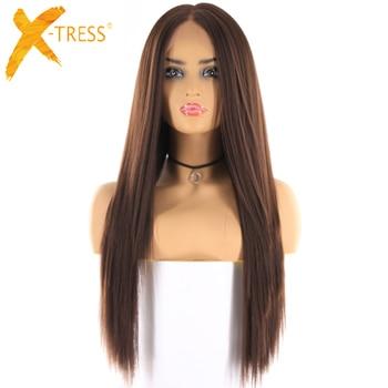 בינוני חום צבע סינטטי שיער פאות לנשים X-TRESS ארוך יקי ישר תחרה מול פאה עם שיער טבעי התיכון חלק