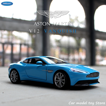 WELLY 1:24 Aston Martin V12 Vanquish sports car simulation alloy car model crafts decoration collection toy tools gift large aston martin v12 vantage car model 1 18 alloy diecast car model steering wheel linkage the two front wheel collection toys