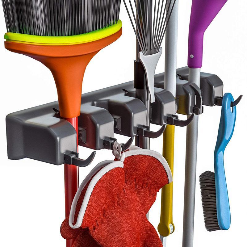 Best Broom Holder And Garden Tool Organizer For Rake Or Mop Handles Up (Black)