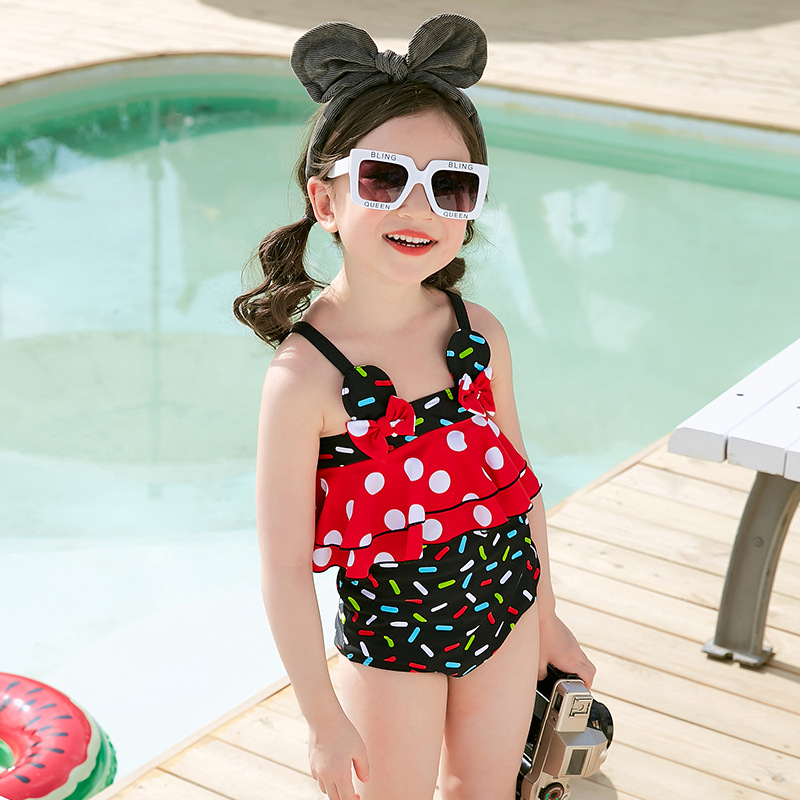 2019 New Style Hot Sales KID'S Swimwear Dots Cartoon Dress-Camisole Backless Large Bow GIRL'S Swimsuit