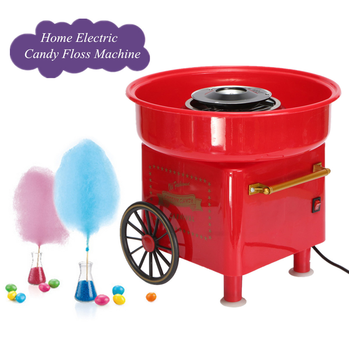 Mini Retro DIY Sweet Cotton Candy Machine Portable Electric Icing Machine Home Party Creatives Gift 450-550W 240V EU Plug