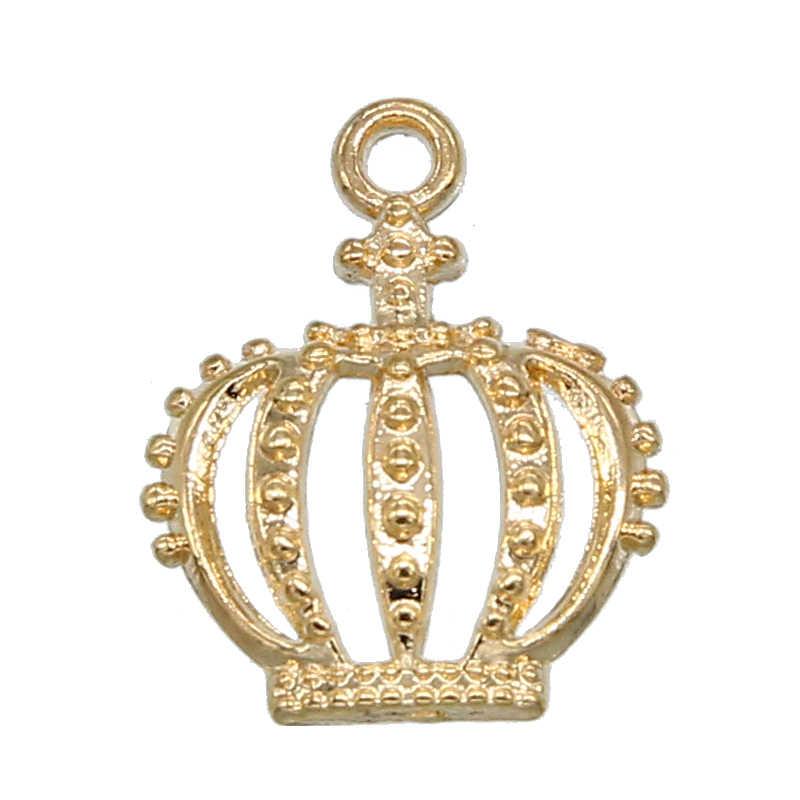 10PCS di Colore Dell'oro Carino Piccolo Hollow Crown Pendenti E Ciondoli Monili Che Fanno del Braccialetto Della Collana Orecchini Pendenti Con Gemme E Perle Accessori Fatti A Mano Artigianato