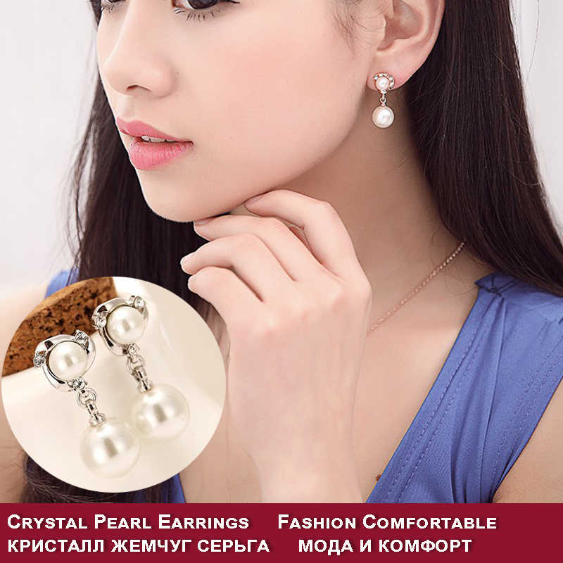 Freshwater Pearl wedd earrings with color gold/silver for women Fashion noble stud Earrings with crystal pearl Jewelry wholesale