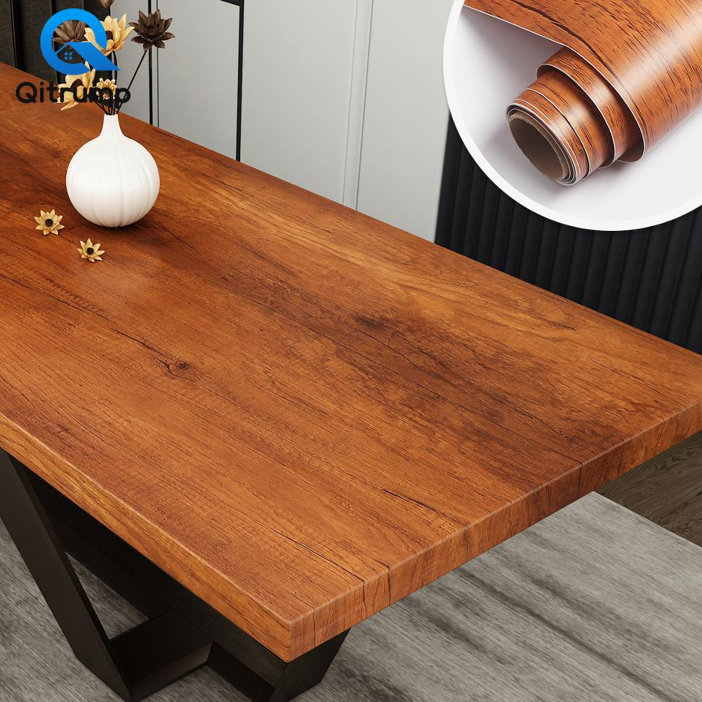 Waterproof Self-adhesive Wood Grain Wallpaper Film Kitchen Cabinet Bedroom Wardrobe Furniture Desktop Renovation Stickers Decor