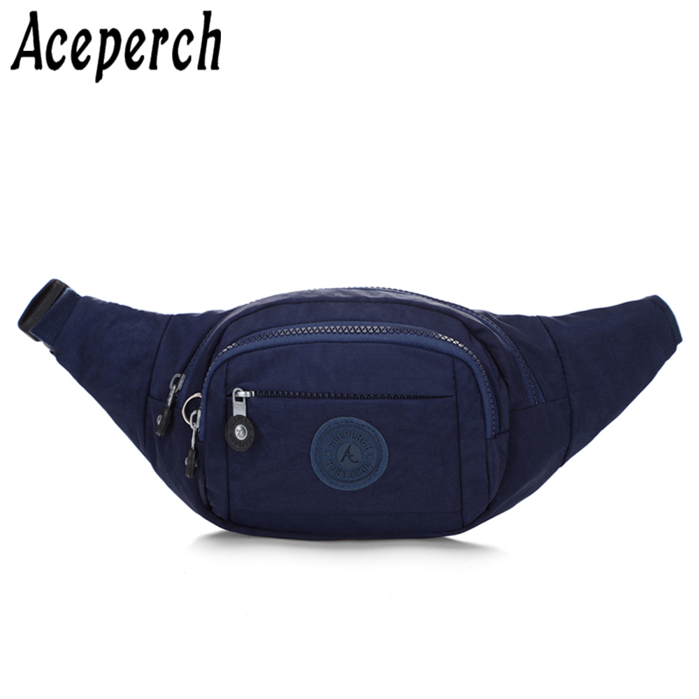 ACEPERCH Women Men Nylon Waist Pack Adjustable Chest Bags Girl Sports Hip Money Belt Bag Travel Mobile Phone Fanny Pack Bum Bags