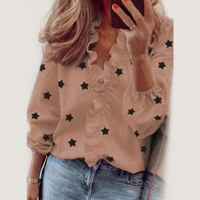 Star Printed Long Sleeve Ruffles Blouse Shirt 2020 New Fashion Female Clothing Casual Elegant White Blue Tops Plus Size S-3XL 4