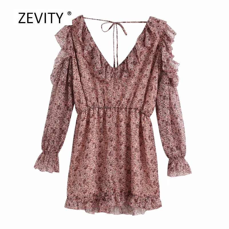 New 2020 women elegant v neck print ruffles chiffon playsuits ladie off shoulder Conjoined shorts casual slim chic siamese P837