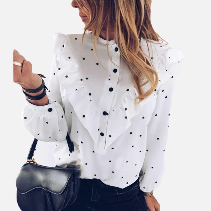 2020 كشكش البولكا نقطة طباعة المرأة بلوزة س الرقبة أزرار بلوزات بأكمام طويلة الإناث الربيع الصيف قميص غير رسمي ملابس للسيدات