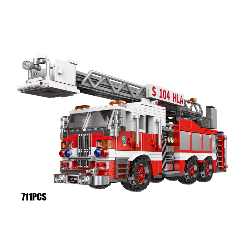 Fire Rescue Truck Educational Building Block Vehicle Truck Figure Diy Model toys